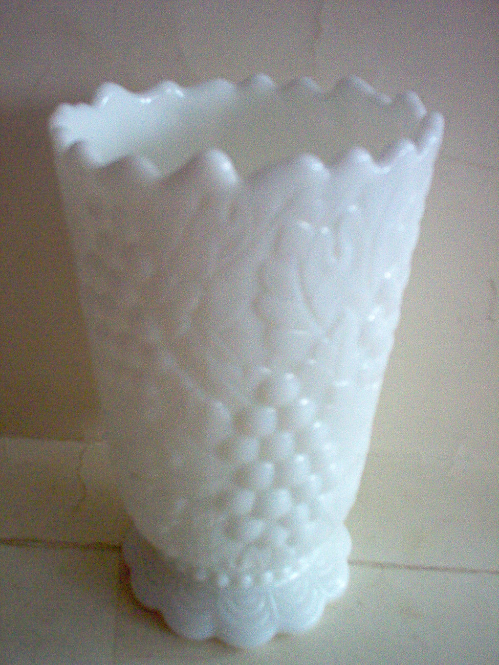 IMPERIAL MILK GLASS GRAPE & LEAVES VASE
