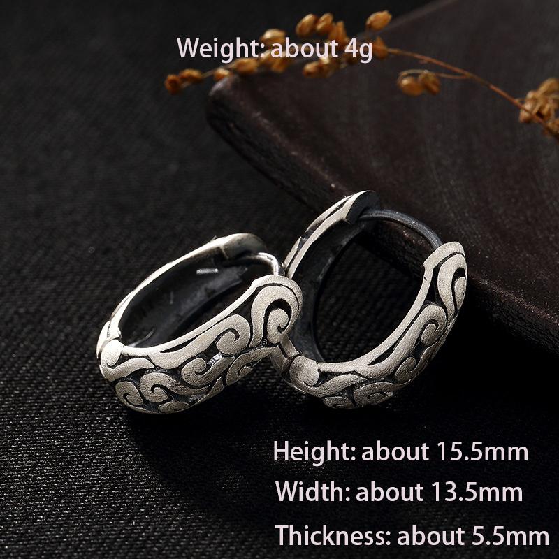 BALMORA 990 Pure Silver Cloud Hollow Clip Earrings for Women Gift Retro Fashion