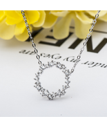 Fashion Women Sterling Silver Zircon Round Necklace - $16.99