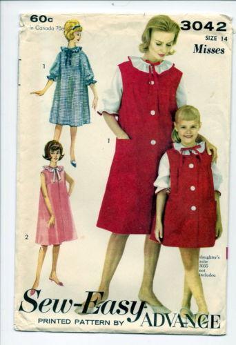 Advance 3042 Nightgown Robe Misses 14 1950s Bonanza