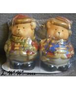 Christmas Teddy Bear Ceramic Salt & Pepper Shaker Set in Package - $3.99