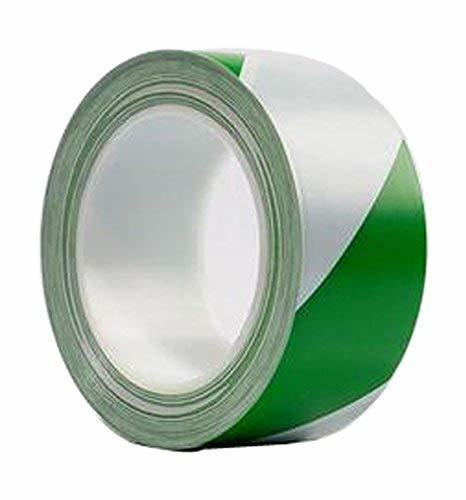 Warning Safety Stripe Tape Wear Heavy Tape (GREEN AND WHITE)