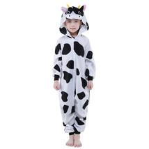 Kid's Kigurumi Pajamas Milk Cow Onesie Pajamas Polar Fleece Black Cospla... - $16.00