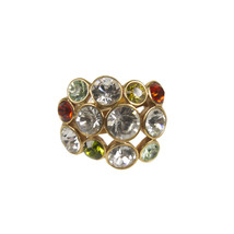Swarovski Multicolored Red Green Crystals Gold Tone Ring - $89.10