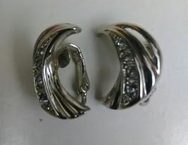 vintage clip on earrings silver tone leaf w zirconias EUC - $1.99