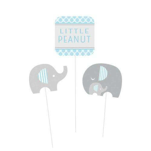 Little Peanut Boy 3 Centerpiece Sticks Blue Elephant Baby Shower