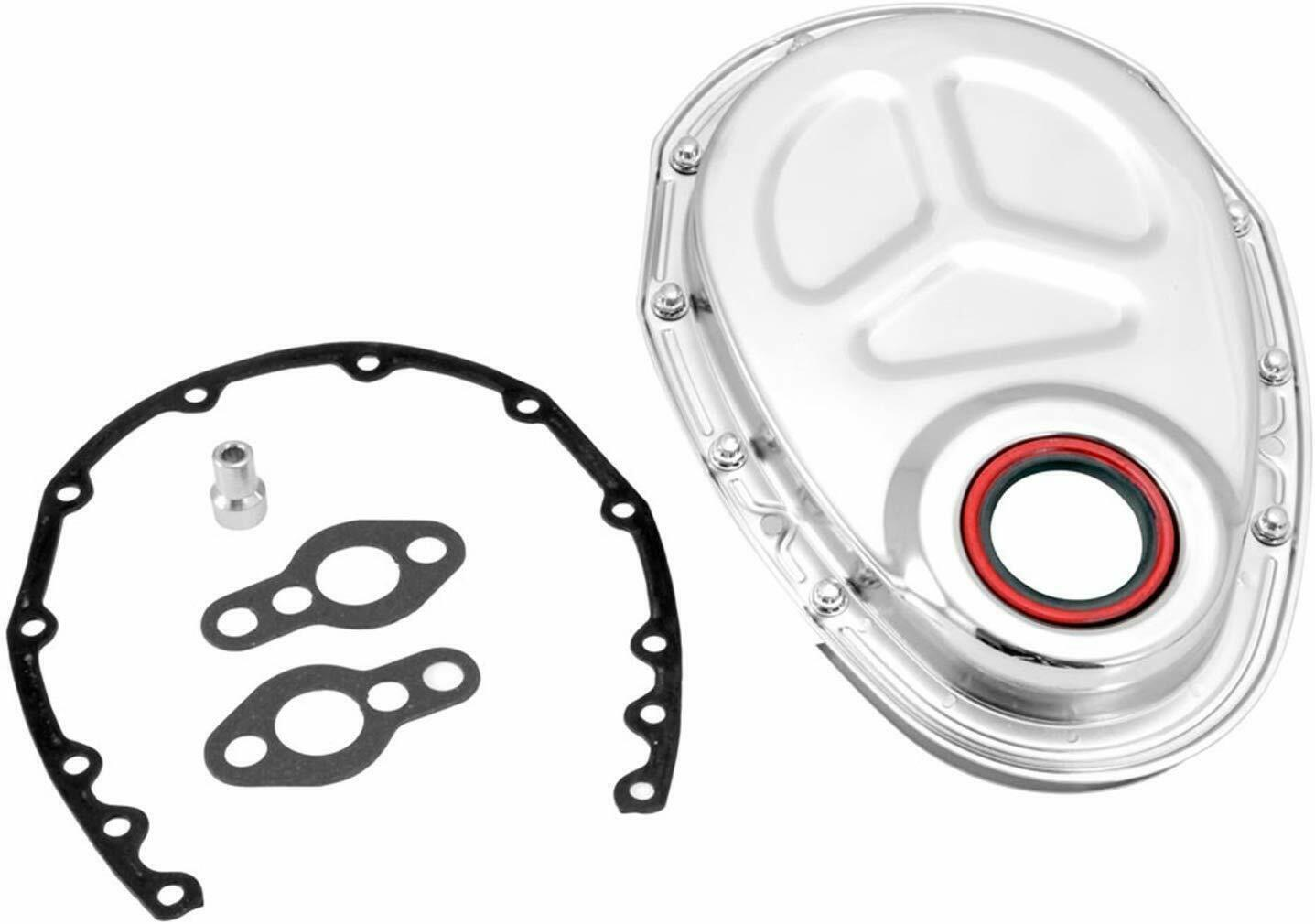 SBC 283 302 305 307 350 383 400 Timing Cover Kit Chrome Steel Small Block Chevy