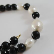18K YELLOW GOLD NECKLACE BIG DROP BAROQUE PEARL 20 MM & ONYX 10 MM MADE IN ITALY image 3