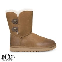 UGG MARCIELA CHESTNUT LEATHER SHEEPSKIN CUFF BUTTON BOOTS SIZE US 7/UK 5... - $2.851,16 MXN