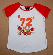 The Childrens Place Tcp Girls Size 7 8 Top Orange White Flowers Shimmery Shirt - $10.93
