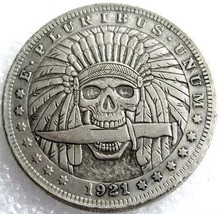 Rare New Hobo Nickel 1921 Morgan Dollar Skull Skeleton Indian With Knife... - $11.99