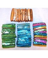6 LONG COLORED SHELL BRACELETS seashell jewelry shells - $22.55