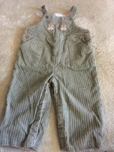 Janie And Jack Boys Olive Green Corduroy Overalls Gingerbread Men 6-12 M... - $15.00