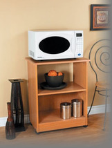 New Oak (Wood Color) Rolling Microwave Stand Kitchen Cart W/ With Storage Shelf - $399.99