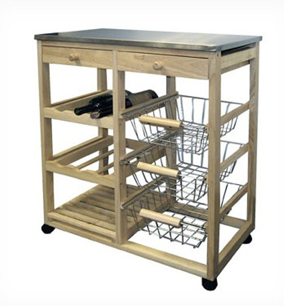 Rolling Stand Prep Island Kitchen Block Microwave Cart Wood With Storage Drawer - $239.99