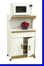 White/Oak Rolling Microwave Stand Kitchen Cart With Wood Handles Storage Cabinet - $179.99