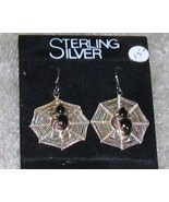 Vintage Costume Jewelry Sterling Silver SpiderWeb Earrings - $5.95