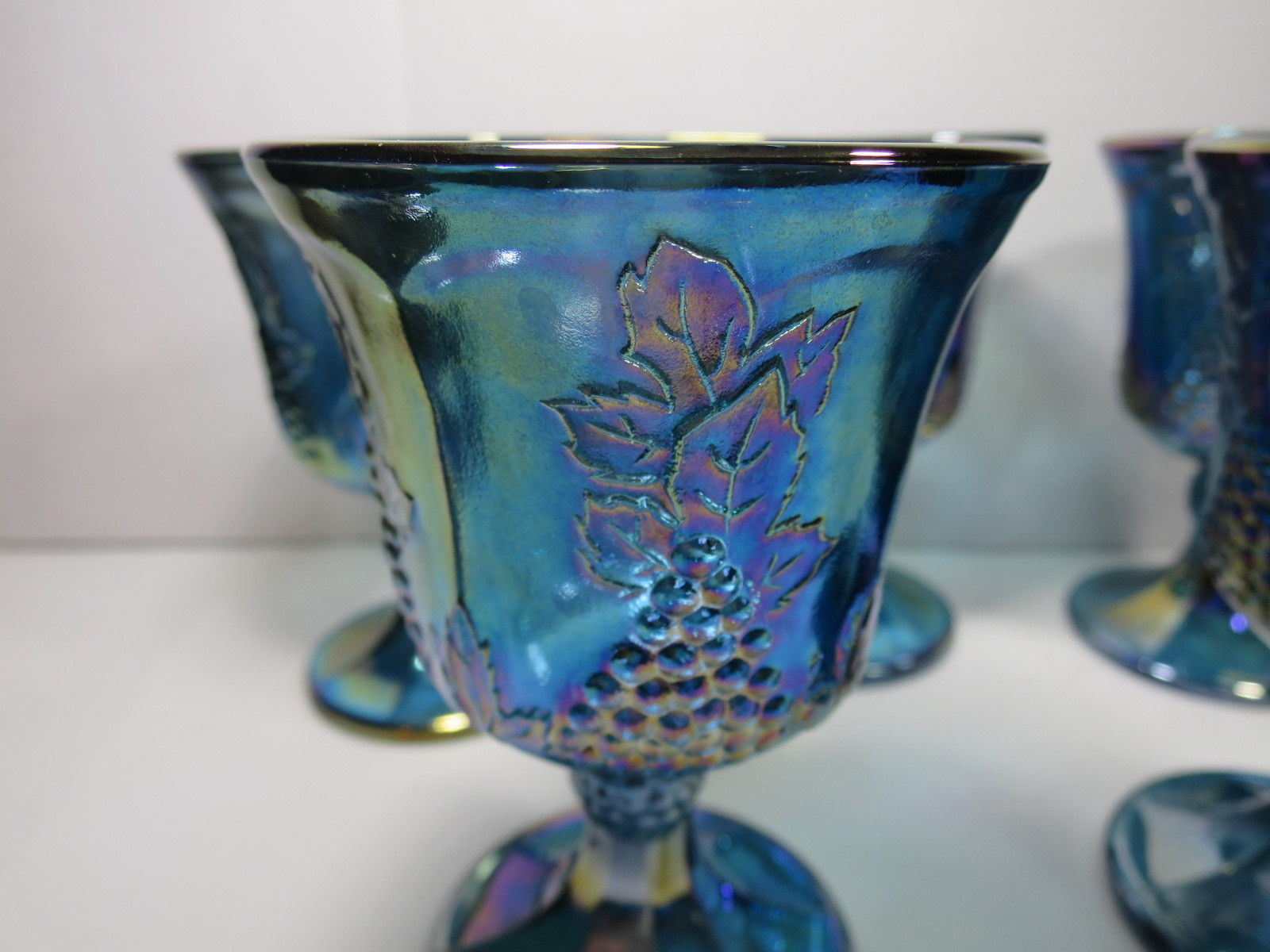 Indiana Glass Blue Carnival Harvest Grape 5 Goblets Iridescent
