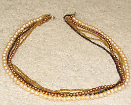 Vintage '80's 4 Strand Faux Pearl/Goldtone Necklace - $4.89