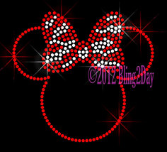 RED Outlined Minnie - Zebra Bow - Iron on Rhinestone Transfer Bling Hot ... - $7.99