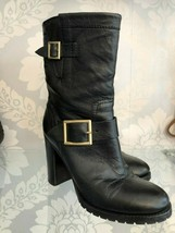 JIMMY CHOO Black Leather Gold Buckle Boots Sz 36.5/US 6.5 $925 - $389.96