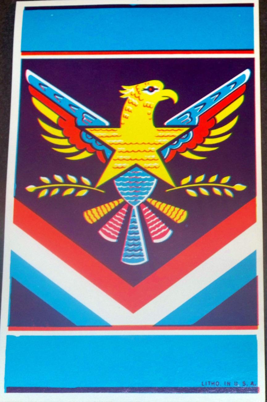 Native American Eagle Lithograph Broom Label, 1940's