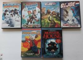 Kids Cartoon Dvd Lot Of 6 HAPPY FEET FLUSHED AWAY G.I.JOE STUART LITTLE ... - $6.92