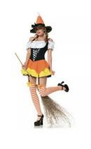 Tween Halloween Witch Costume Junior Sz S/M Kandy Korn Candy Corn Leg Av... - £15.93 GBP