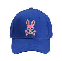 Psycho Bunny Men's Strapback Two Tone Skull Logo Deep Royal Baseball Cap Hat image 3