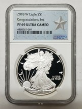 2018-W Proof $1 Silver Eagle Congratulations Set NGC PF69 Coin Serial #s Vary