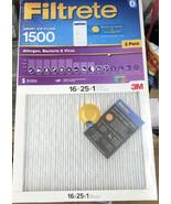 2 Filtrete 16x25x1 AC Furnace Air Smart Filter MPR 1500 Allergen Bacteri... - $37.39