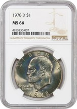 1978-D $1 NGC MS66 - Pretty Toning - Eisenhower Dollar - Pretty Toning - £537.04 GBP