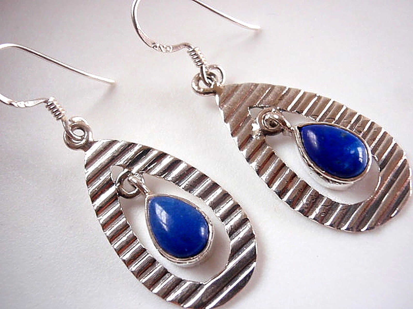 Primary image for Lapis Lazuli Grooved Hoop Dangling 925 Sterling Silver Dangle Earrings New