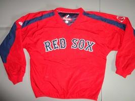 Red SEWN Boston Red Sox MLB Baseball V neck Pullover Jacket  Mens S Exce... - $38.96