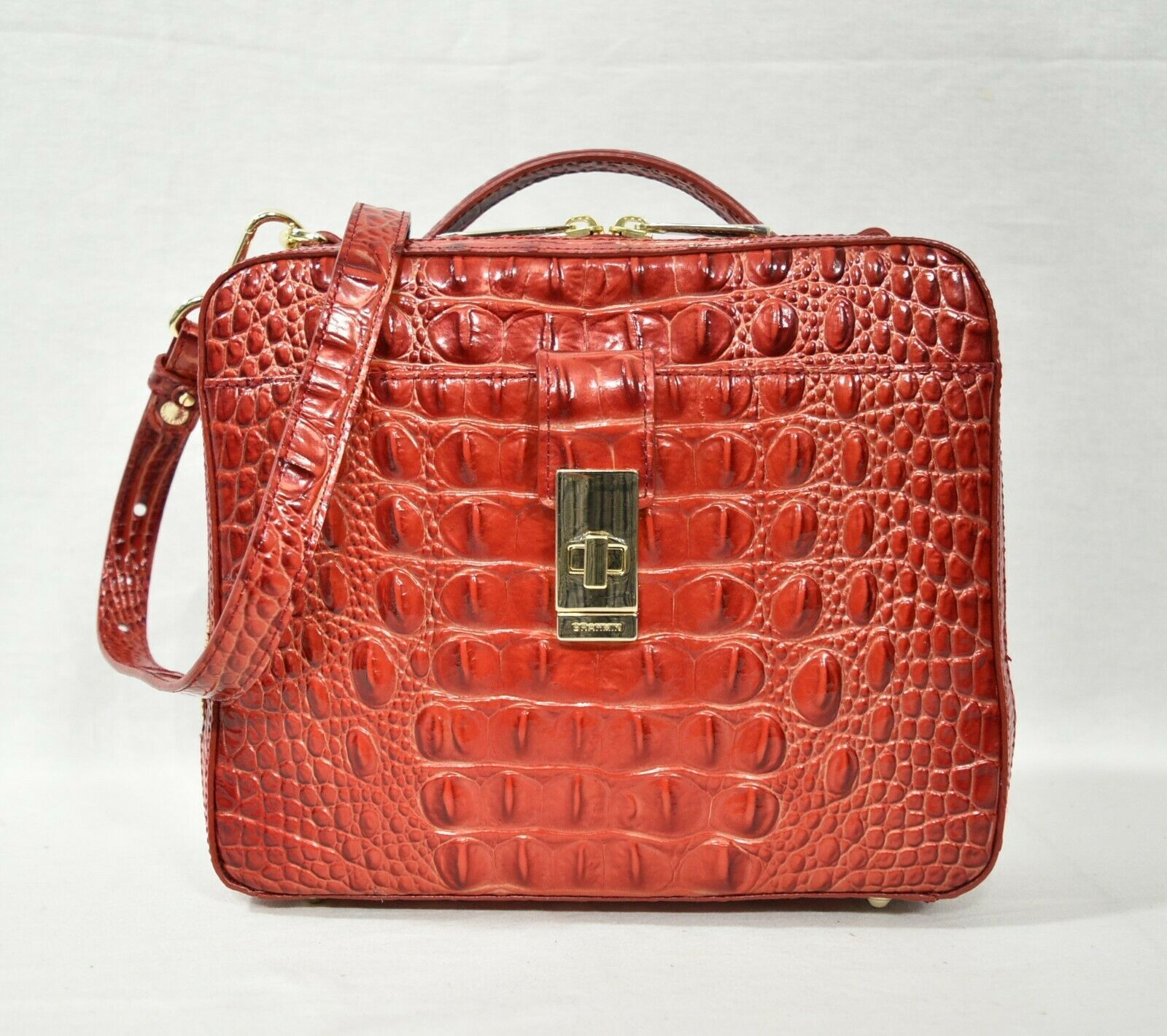 Primary image for NWT Brahmin Evie Leather Satchel/Shoulder Bag in Lava Melbourne