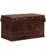 Steamer Trunk Large Red Antique Top Chest Vintage Storage Metal Victoria... - $108.75