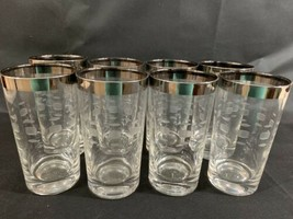 Vintage Mid Century Set Of 8 Silver Rimmed Block White Etched Hi-ball Gl... - $18.70