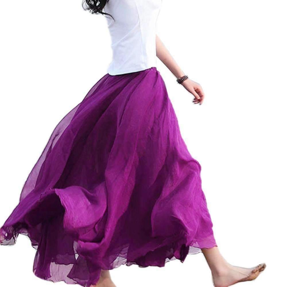 Elegant Chiffon Bohemian Women Maxi Skirt