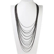 UE- Sleek & Stylish Multi Strand Charcoal Gun Metal Tone Designer Necklace - $22.99