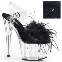 "PLEASER Sexy 7"" Heel Platform Black Marabou Feather Ankle Strap Women's ... - $50.95"