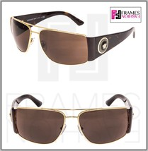 VERSACE Square Wrap VE2163 Tortoise Brown Gold Mirrored Sunglasses Unise... - $195.13