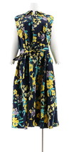 Isaac Mizrahi Tropical Floral Print Shirt Dress Dark Navy 16 NEW A306433 - $39.58