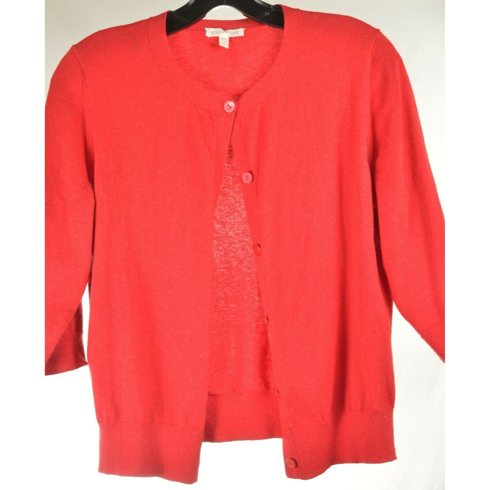 Eileen Fisher sweater M red cardigan 3/4 sleeves organic cotton cashmere blend image 4