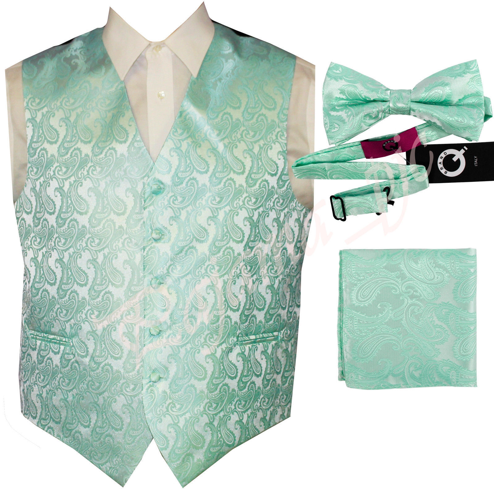 Aqua Green  XS to 6XL Paisley Tuxedo Suit Dress Vest Waistcoat & Bow tie Hanky