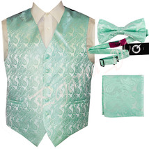 Aqua Green  XS to 6XL Paisley Tuxedo Suit Dress Vest Waistcoat & Bow tie... - $23.74+