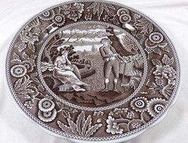 Spode Georgian Series Archive Collection Woodman Brown on White dinner plate - $41.18