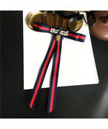Red Blue Ribbon Bee Applique Tie Women Accessories Bow Collar Fashion Br... - $8.90+