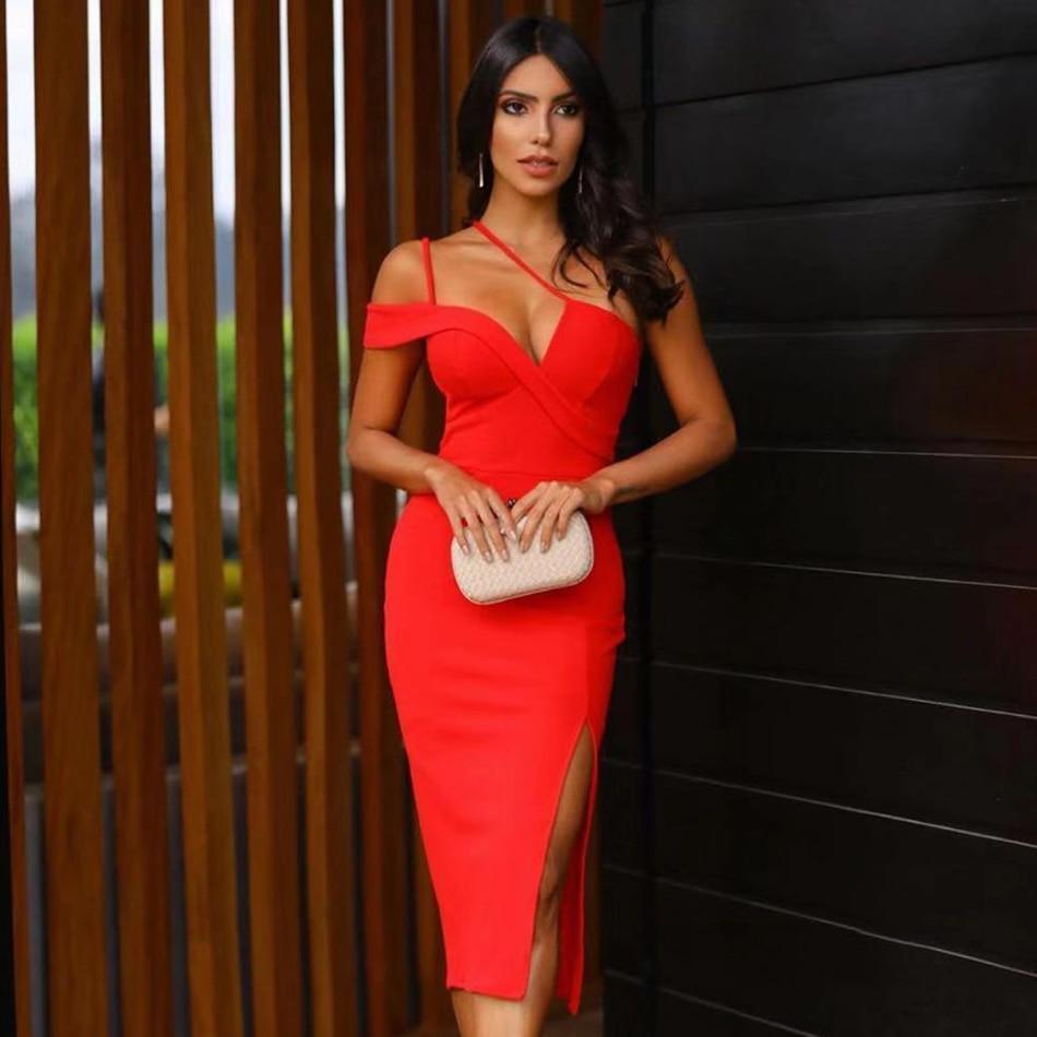 2020 new summer one shoulder bandage dress women sexy sleeveless red bandage dress bodycon club