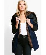 Boohoo Natalie Faux Fur Lined Parka Navy Size 10 NWT - $49.49