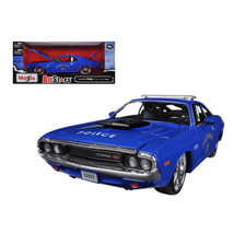 1970 Dodge Challenger R/T Coupe Police Blue All Stars 1/24 Diecast Model... - $40.38